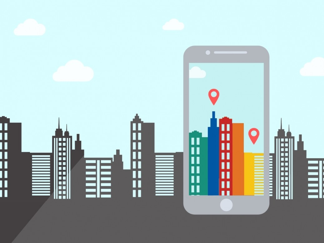 Graphic of cityscape with phone screen showing augmented perception of the buildings
