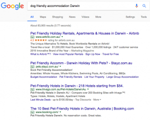Search for dog friendly accommodation Darwin