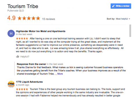 Reviews on Google My Business listing