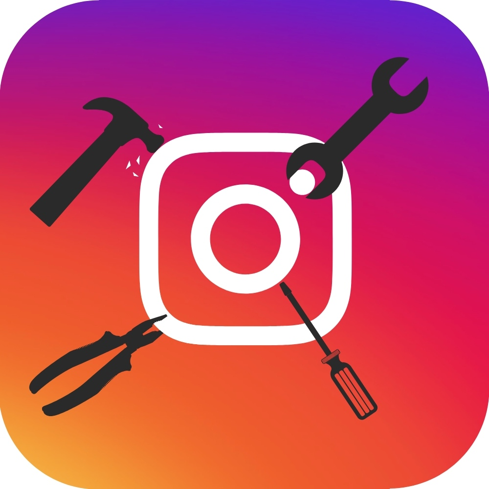 Instagram logo being adjusted with tools