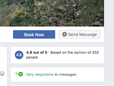 Small screenshot of 'send message' button on a Facebook business page