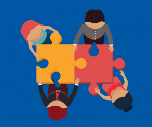 Graphic depicting a team around a jigsaw puzzle
