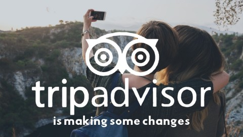 Two girls take a selfie in wilderness. Overlaid with TripAdvisor logo and text: 'ripAdvisor is making some changes'
