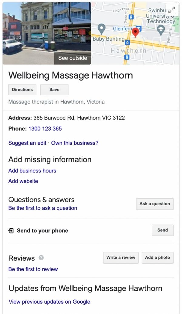 Screenshot example of a google my business listing that has not been optimised