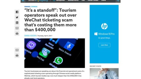 WeChat Scam – How Tourism Operators can protect themselves